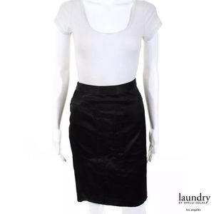 LAUNDRY By SS Black Satin Pencil Skirt